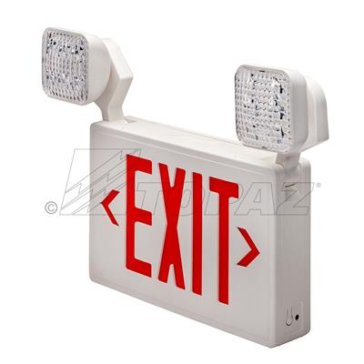 Led Red Exit Sign With 2 Lamp Heads And Battery Backup